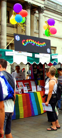 Front view of the Croydon stall at Pride