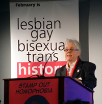 Sue Sanders speaking at the pre-launch of LGBT History Month