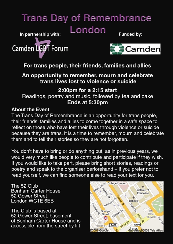 Trans Day of Remembrance flyer